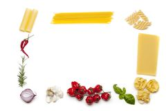 Frame made out of pasta royalty free stock photo