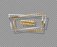 Frame made of overlapping golden and silver rectangles. Vector luxury design element isolated on transparent background. royalty free illustration
