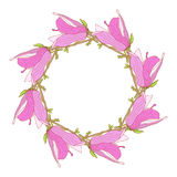 Frame made of pink magnolia flowers Stock Image