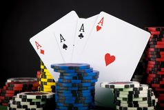 Frame made of playing cards and poker chips Stock Image