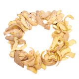 Frame made of potato peels isolated Stock Photo