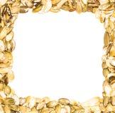 A frame made from pumpkin seeds. A square frame made from pumpkin seeds on a white background Stock Photos