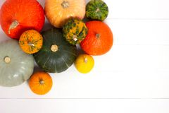 Frame made of pumpkins on white background. royalty free stock images