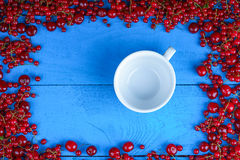 Frame made of red currant and cherry with empty coffee cup Stock Images