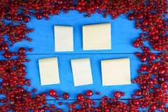 Frame made of red currant and cherry with stick notes Stock Photos