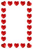 Frame made of red hearts. On white Royalty Free Illustration