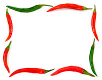 Frame made of red hot chili pepper Royalty Free Stock Photography