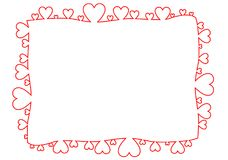 Frame made of red outline hearts Royalty Free Stock Images