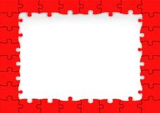 Frame made of red puzzle pieces Stock Photo