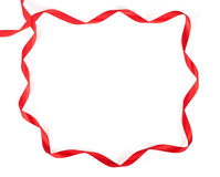 Frame made with a red ribbon Royalty Free Stock Photos