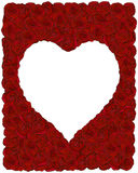 Frame made of red roses with heart-shape place for Royalty Free Stock Image