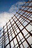 Frame made of reinforcing steel prepared for pouring concrete. Stock Images