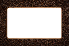 Frame made from roasted coffee beans over white background Royalty Free Stock Photos