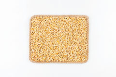 Frame made of the rope with barley grain on a white background Stock Photo