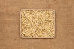 Frame made of rope with barley grains on sackcloth, view from above Stock Photography