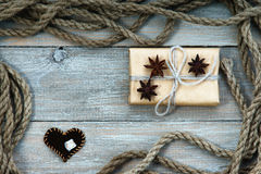 Frame made of rope, gift box and heart shape Royalty Free Stock Images