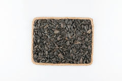 Frame made of the rope with sunflower seeds on a white background Royalty Free Stock Photography