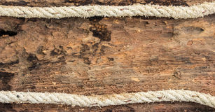Frame made of rope on wood Royalty Free Stock Photography