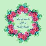 Frame made of roses and leaves in watercolor Royalty Free Stock Photo