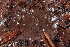 Spice frame on a dough Stock Image