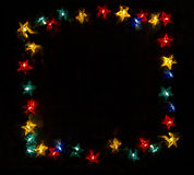 Frame made of Star fairy lights Stock Image