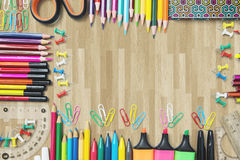 Frame made of stationery on the floor Stock Images