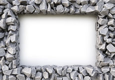 Frame. Made of stones. isolated on white background. 3D illustration Royalty Free Stock Photo