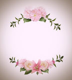 Frame Made from Summer Pink Flowers and Green Leaves Isolated on Stock Photos