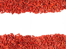 Frame is made of Tibetan goji berries. Space for text Stock Photos