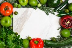 Frame made of vegetables and fruits. Top view stock photos