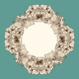 Frame made of vintage flowers Royalty Free Stock Image