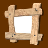 Frame is made of wood. Wooden boards and old nails. Vintage home Royalty Free Stock Photography