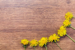 Frame made of yellow dandelions on a wooden background Stock Photo