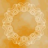 Frame mandala in outlines over henna background Stock Image