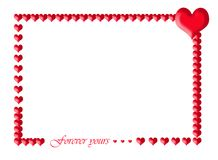 Frame of manu red emboss hearts Royalty Free Stock Image