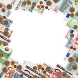 Frame from many euro banknotes. And coins over white background Royalty Free Stock Image