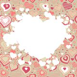 Frame with many hearts Stock Photos