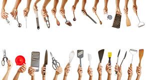 Frame with many kitchen tools. Frame with hands holding many different kitchen tools Stock Photography