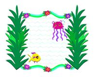Frame of Marine Life and Plants Royalty Free Stock Photo