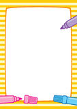 Frame and markers, white background A3/A4. Vector colorful illustration of a yellow striped frame and three marker pens: pink, light blue and purple. Place for Stock Photo