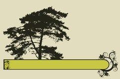 frame marrom da árvore e das flores ilustração stock