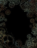 Frame with mechanical parts, gears and cogs on black background Stock Photos