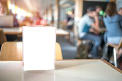 Frame for menu on table of bar in cafe restaurant
