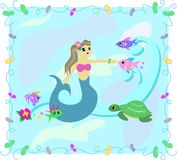 Frame of Mermaid and Fish in the Sea Stock Image