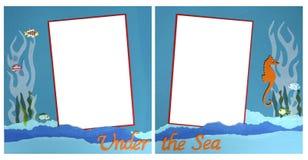 frame mermaid scrapbook template theme 免版税库存图片