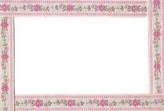 Frame met bloemenborduurwerk. stock foto
