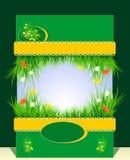 Frame met gras en bloemen voor presentatie Stock Afbeeldingen