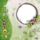 Frame met groen golf en viooltje Royalty-vrije Stock Afbeeldingen