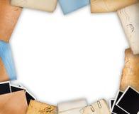 Frame met oud document en onmiddellijke foto's Stock Afbeelding