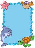 Frame met overzeese dieren 1 Stock Afbeelding